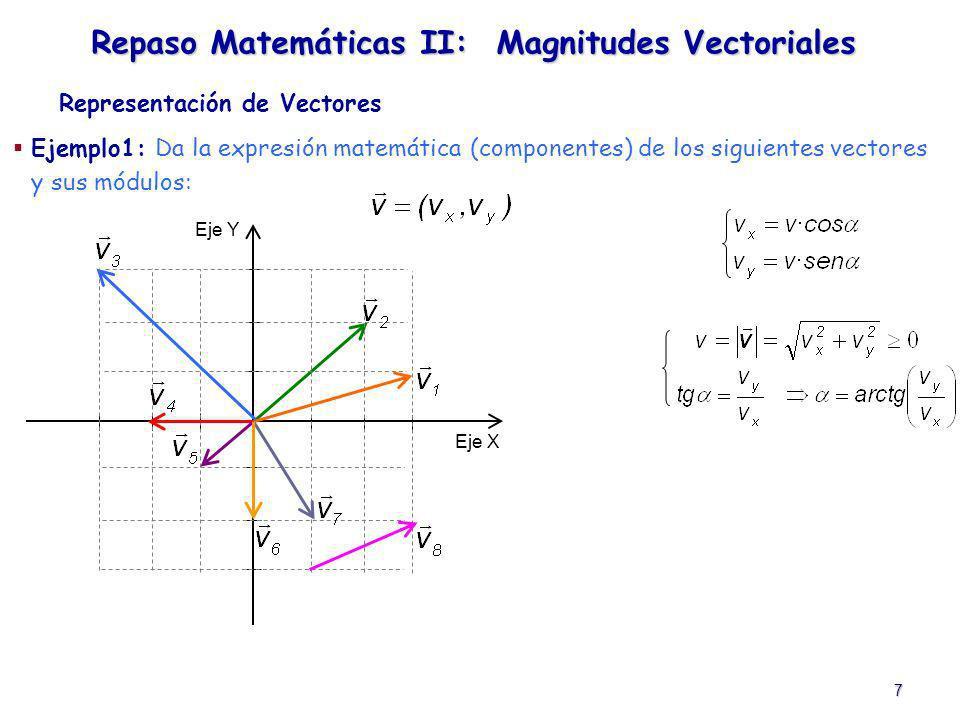 7 Ejemplo1: Da la expresión matemática (componentes) de los siguientes vectores y sus módulos: Representación de Vectores Repaso Matemáticas II: Magni
