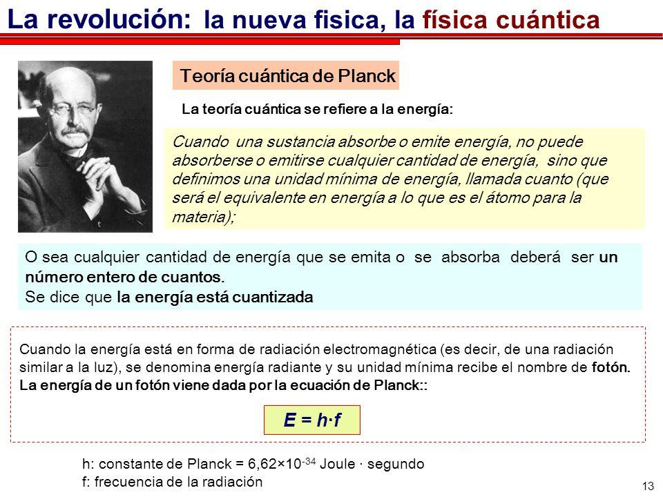 13 Teoría cuántica de Planck La teoría cuántica se refiere a la energía: Cuando la energía está en forma de radiación electromagnética (es decir, de una radiación similar a la luz), se denomina energía radiante y su unidad mínima recibe el nombre de fotón.