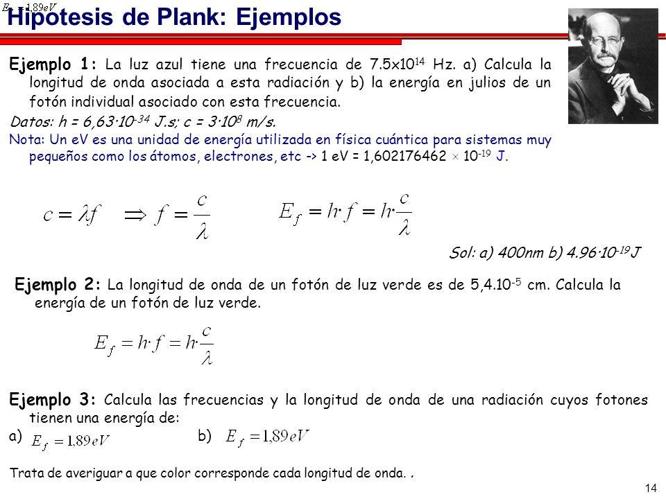 14 Hipotesis de Plank: Ejemplos Ejemplo 1: La luz azul tiene una frecuencia de 7.5x10 14 Hz. a) Calcula la longitud de onda asociada a esta radiación