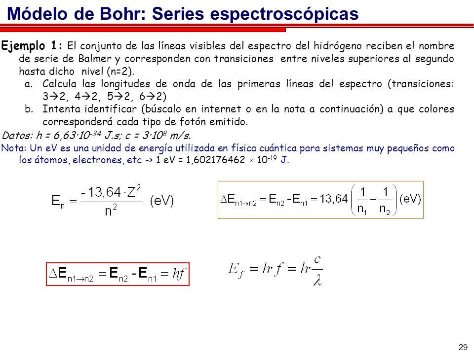 29 Ejemplo 1: El conjunto de las líneas visibles del espectro del hidrógeno reciben el nombre de serie de Balmer y corresponden con transiciones entre niveles superiores al segundo hasta dicho nivel (n=2).