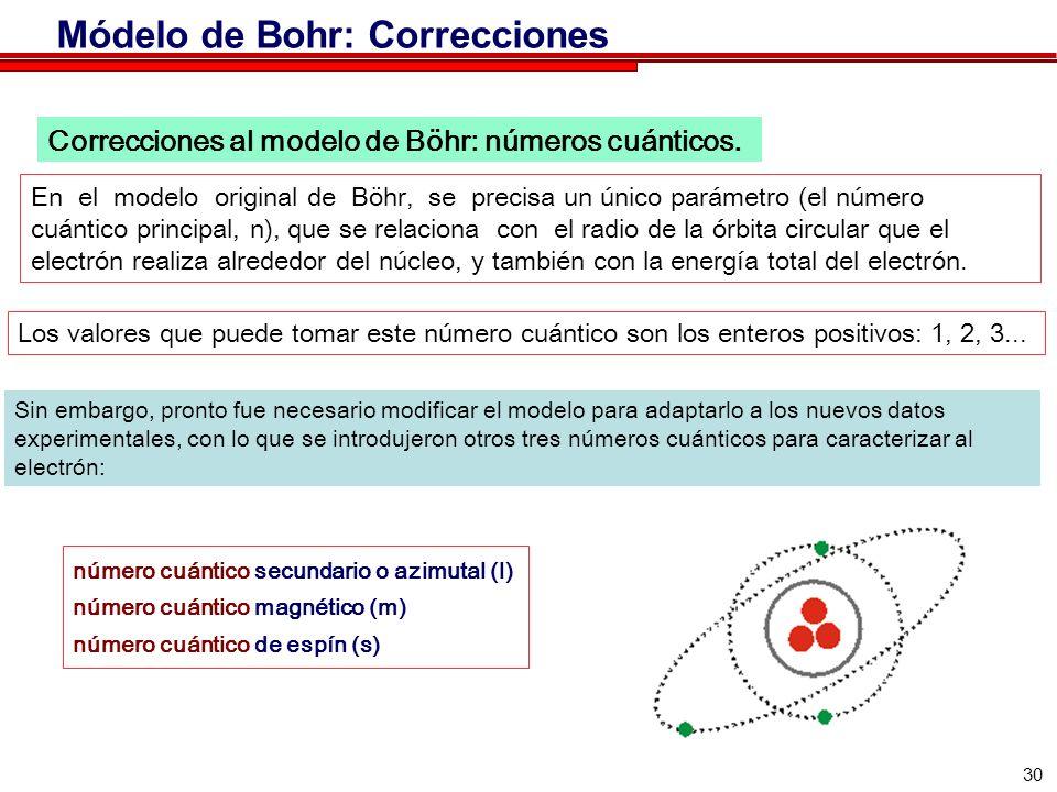 30 Sin embargo, pronto fue necesario modificar el modelo para adaptarlo a los nuevos datos experimentales, con lo que se introdujeron otros tres números cuánticos para caracterizar al electrón: número cuántico secundario o azimutal (l) número cuántico magnético (m) número cuántico de espín (s) Correcciones al modelo de Böhr: números cuánticos.