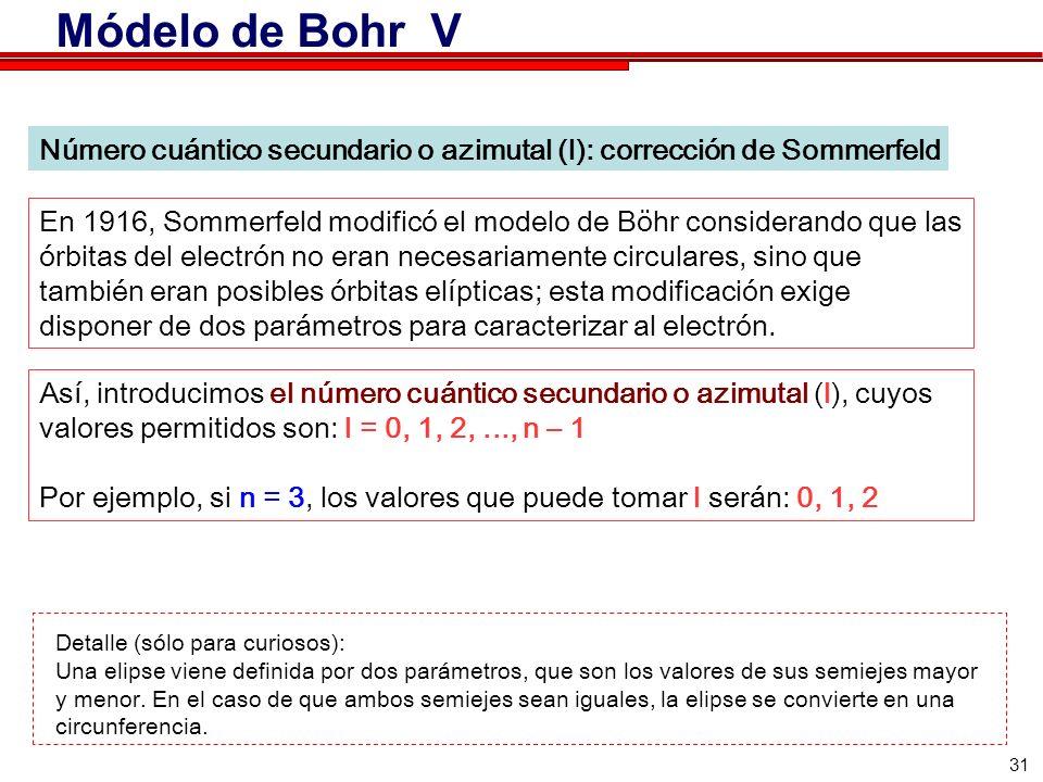 31 Número cuántico secundario o azimutal (l): corrección de Sommerfeld En 1916, Sommerfeld modificó el modelo de Böhr considerando que las órbitas del electrón no eran necesariamente circulares, sino que también eran posibles órbitas elípticas; esta modificación exige disponer de dos parámetros para caracterizar al electrón.
