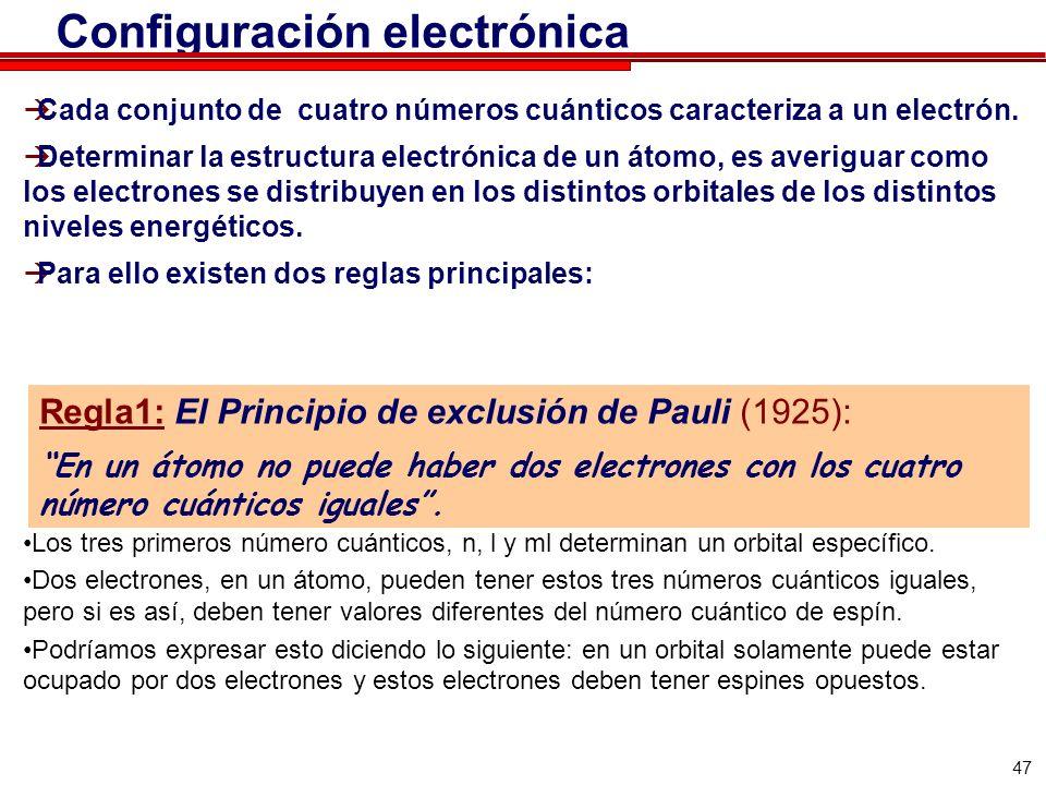 47 Configuración electrónica Cada conjunto de cuatro números cuánticos caracteriza a un electrón. Determinar la estructura electrónica de un átomo, es