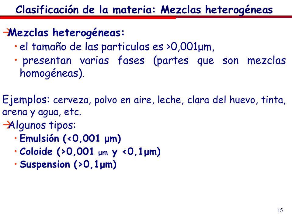 15 Mezclas heterogéneas: el tamaño de las particulas es >0,001μm, presentan varias fases (partes que son mezclas homogéneas). Ejemplos: cerveza, polvo