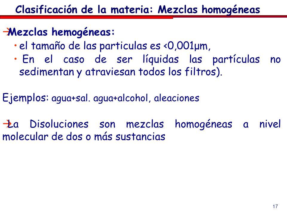 17 Mezclas hemogéneas: el tamaño de las particulas es <0,001μm, En el caso de ser líquidas las partículas no sedimentan y atraviesan todos los filtros
