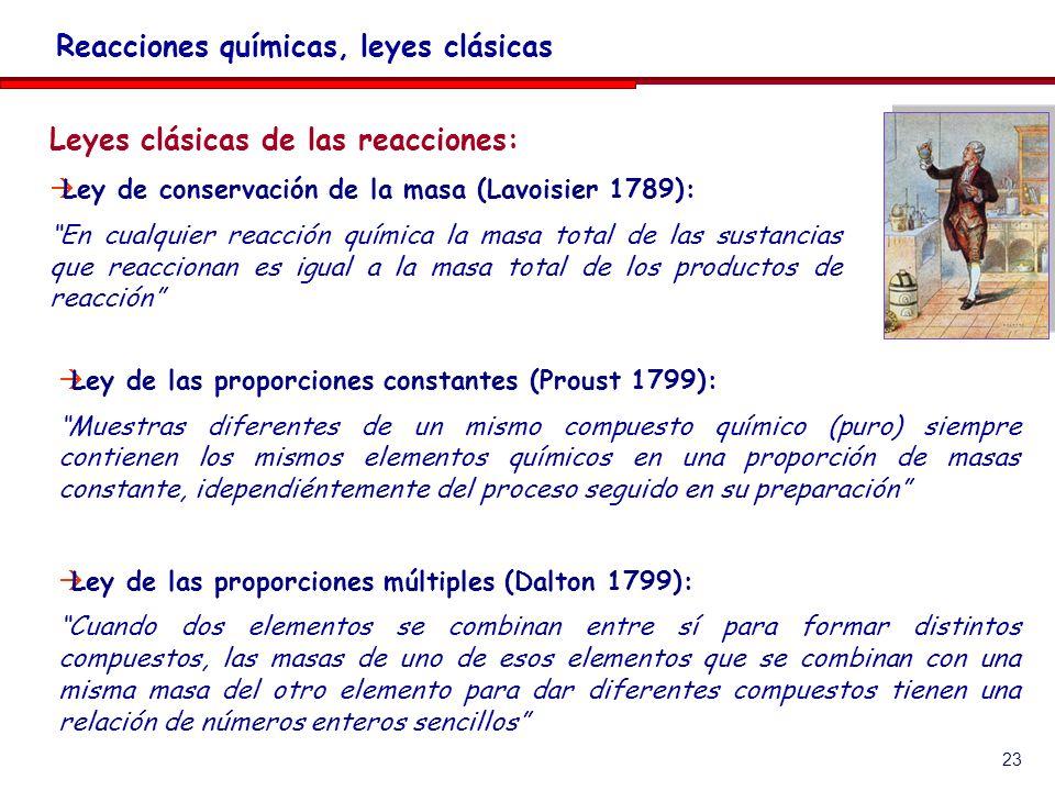 23 Leyes clásicas de las reacciones: Ley de conservación de la masa (Lavoisier 1789): En cualquier reacción química la masa total de las sustancias que reaccionan es igual a la masa total de los productos de reacción Reacciones químicas, leyes clásicas Ley de las proporciones constantes (Proust 1799): Muestras diferentes de un mismo compuesto químico (puro) siempre contienen los mismos elementos químicos en una proporción de masas constante, idependiéntemente del proceso seguido en su preparación Ley de las proporciones múltiples (Dalton 1799): Cuando dos elementos se combinan entre sí para formar distintos compuestos, las masas de uno de esos elementos que se combinan con una misma masa del otro elemento para dar diferentes compuestos tienen una relación de números enteros sencillos