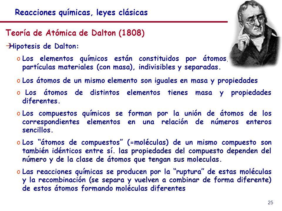25 Teoría de Atómica de Dalton (1808) Hipotesis de Dalton: oLos elementos químicos están constituidos por átomos, partículas materiales (con masa), indivisibles y separadas.