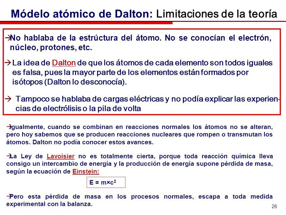 26 La Ley de Lavoisier no es totalmente cierta, porque toda reacción química lleva consigo un intercambio de energía y la producción de energía supone pérdida de masa, según la ecuación de Einstein:LavoisierEinstein: E = m×c 2 Pero esta pérdida de masa en los procesos normales, escapa a toda medida experimental con la balanza.