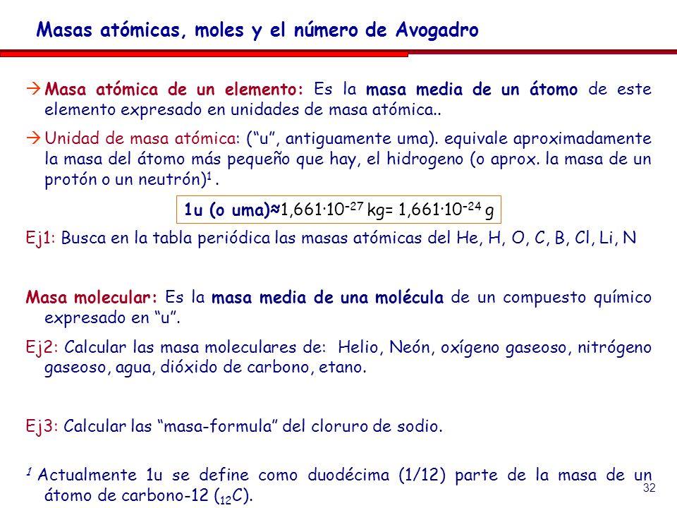 32 Masa atómica de un elemento: Es la masa media de un átomo de este elemento expresado en unidades de masa atómica.. Unidad de masa atómica: (u, anti