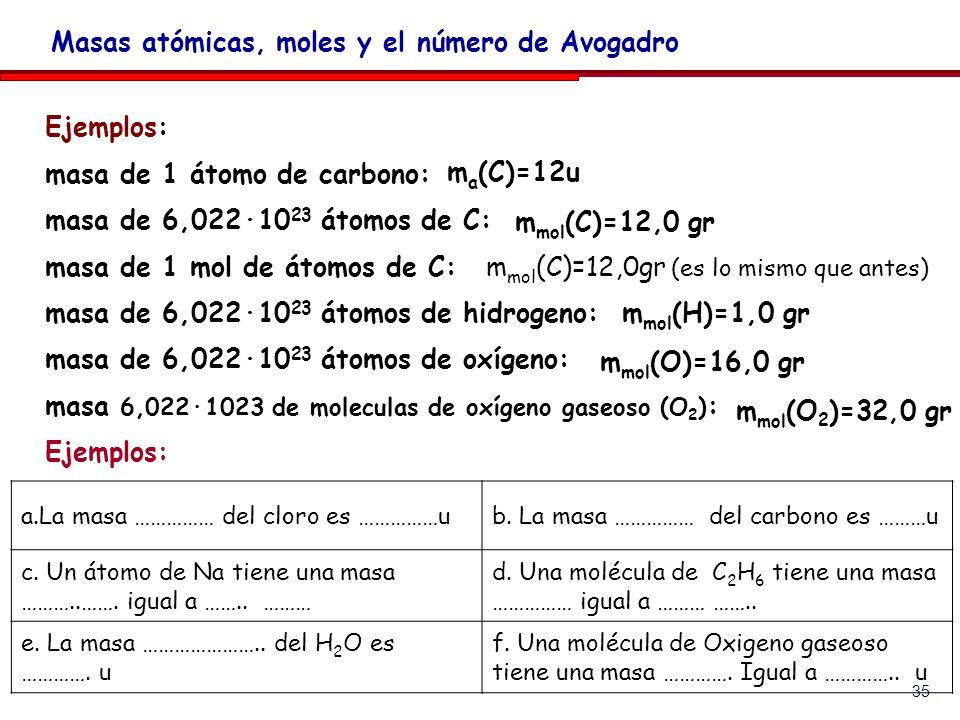 35 Ejemplos: masa de 1 átomo de carbono: masa de 6,022·10 23 átomos de C: masa de 1 mol de átomos de C: masa de 6,022·10 23 átomos de hidrogeno: masa de 6,022·10 23 átomos de oxígeno: masa 6,022·1023 de moleculas de oxígeno gaseoso (O 2 ) : Ejemplos: Masas atómicas, moles y el número de Avogadro m a (C)=12u m mol (C)=12,0 gr m mol (C)=12,0gr (es lo mismo que antes) m mol (H)=1,0 gr m mol (O)=16,0 gr a.La masa …………… del cloro es ……………ub.