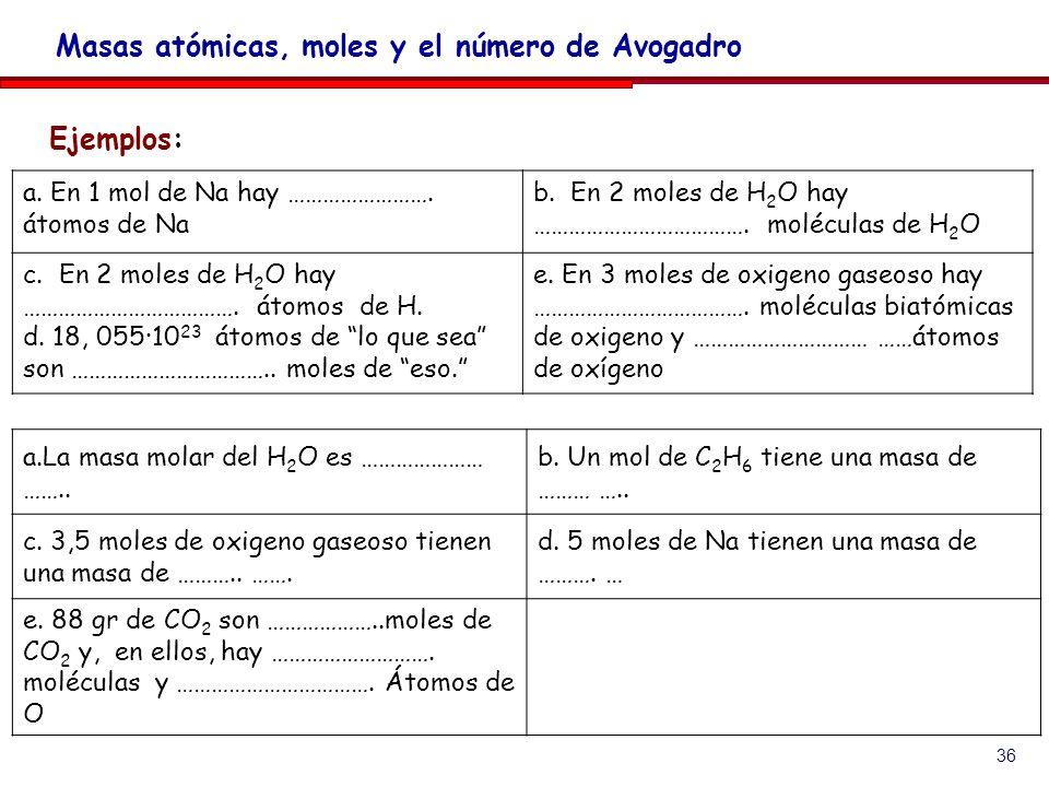 36 Ejemplos: Masas atómicas, moles y el número de Avogadro a. En 1 mol de Na hay ……………………. átomos de Na b. En 2 moles de H 2 O hay ………………………………. moléc