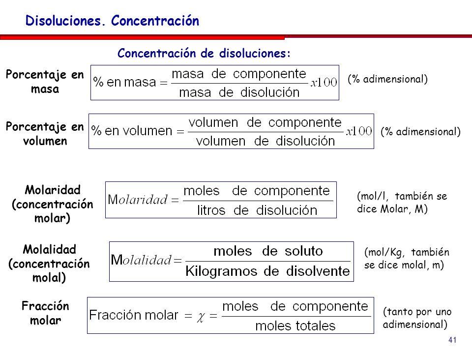 41 Disoluciones. Concentración Molaridad (concentración molar) (mol/l, también se dice Molar, M) Molalidad (concentración molal) (mol/Kg, también se d