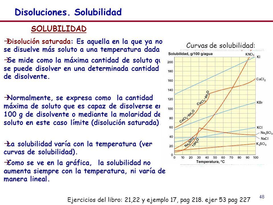 48 Disoluciones. Solubilidad SOLUBILIDAD Disolución saturada: Es aquella en la que ya no se disuelve más soluto a una temperatura dada Se mide como la
