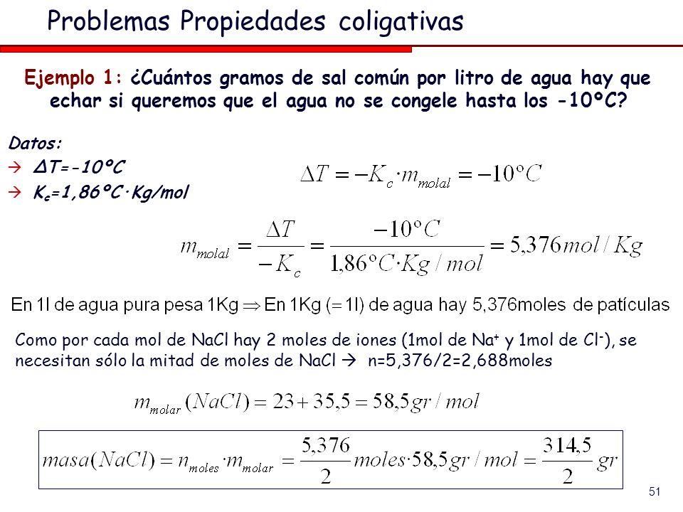51 Problemas Propiedades coligativas Ejemplo 1: ¿Cuántos gramos de sal común por litro de agua hay que echar si queremos que el agua no se congele hasta los -10ºC.