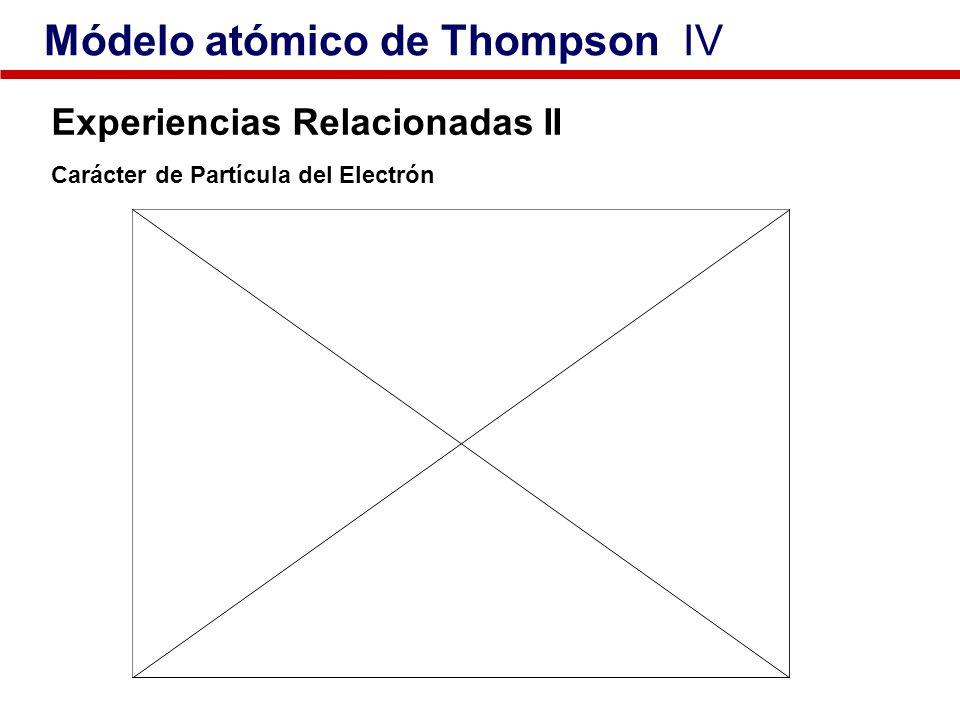 Experiencias Relacionadas II Carácter de Partícula del Electrón Módelo atómico de Thompson IV