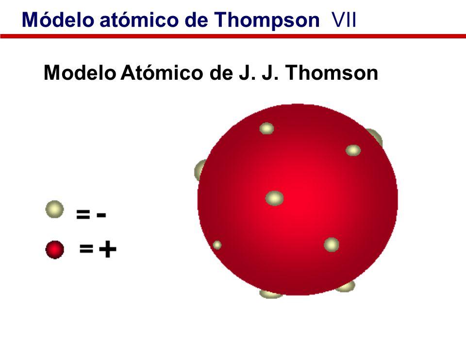 Modelo Atómico de J. J. Thomson Módelo atómico de Thompson VII
