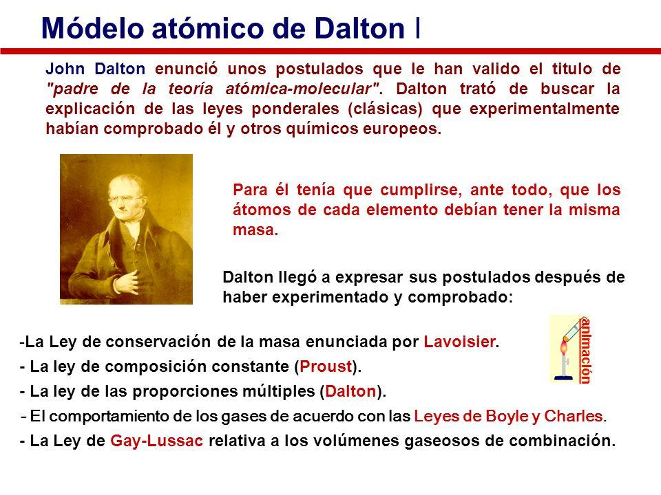 Módelo atómico de Dalton I John Dalton enunció unos postulados que le han valido el titulo de
