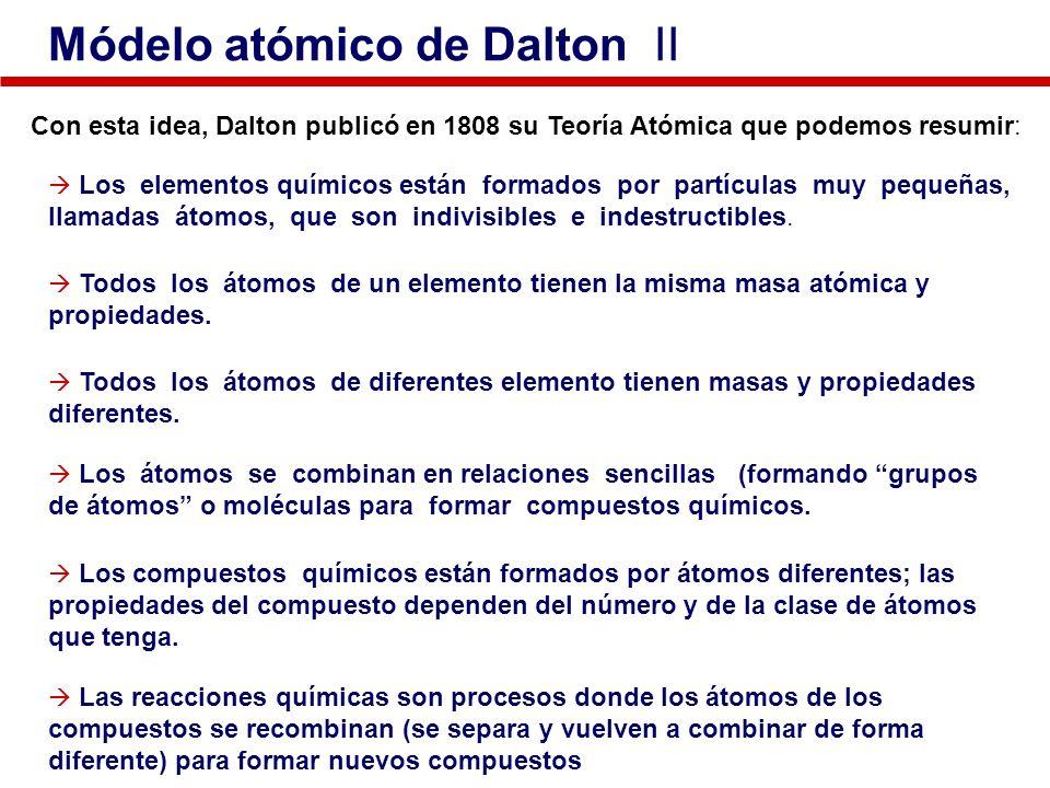 Con esta idea, Dalton publicó en 1808 su Teoría Atómica que podemos resumir: Los compuestos químicos están formados por átomos diferentes; las propied