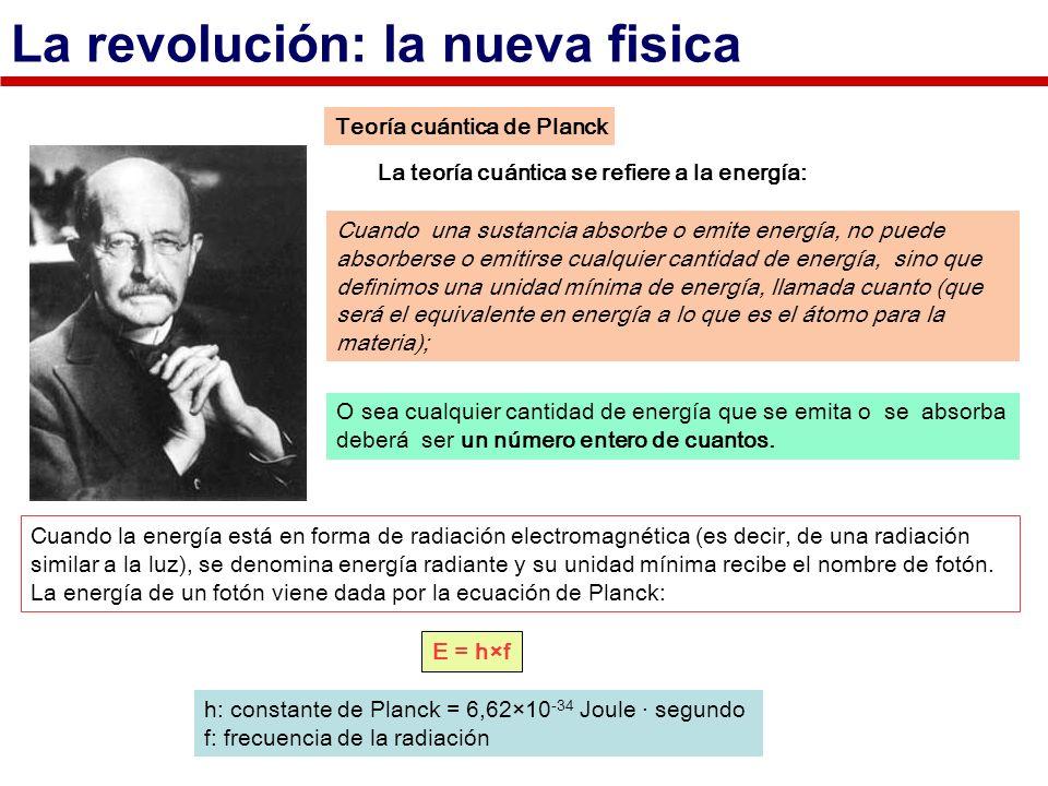 Teoría cuántica de Planck La teoría cuántica se refiere a la energía: Cuando la energía está en forma de radiación electromagnética (es decir, de una