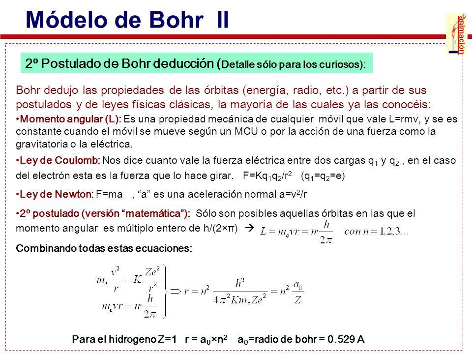 2º Postulado de Bohr deducción ( Detalle sólo para los curiosos): Módelo de Bohr II Bohr dedujo las propiedades de las órbitas (energía, radio, etc.)