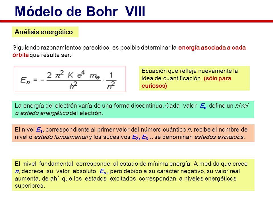 Siguiendo razonamientos parecidos, es posible determinar la energía asociada a cada órbita que resulta ser: Ecuación que refleja nuevamente la idea de