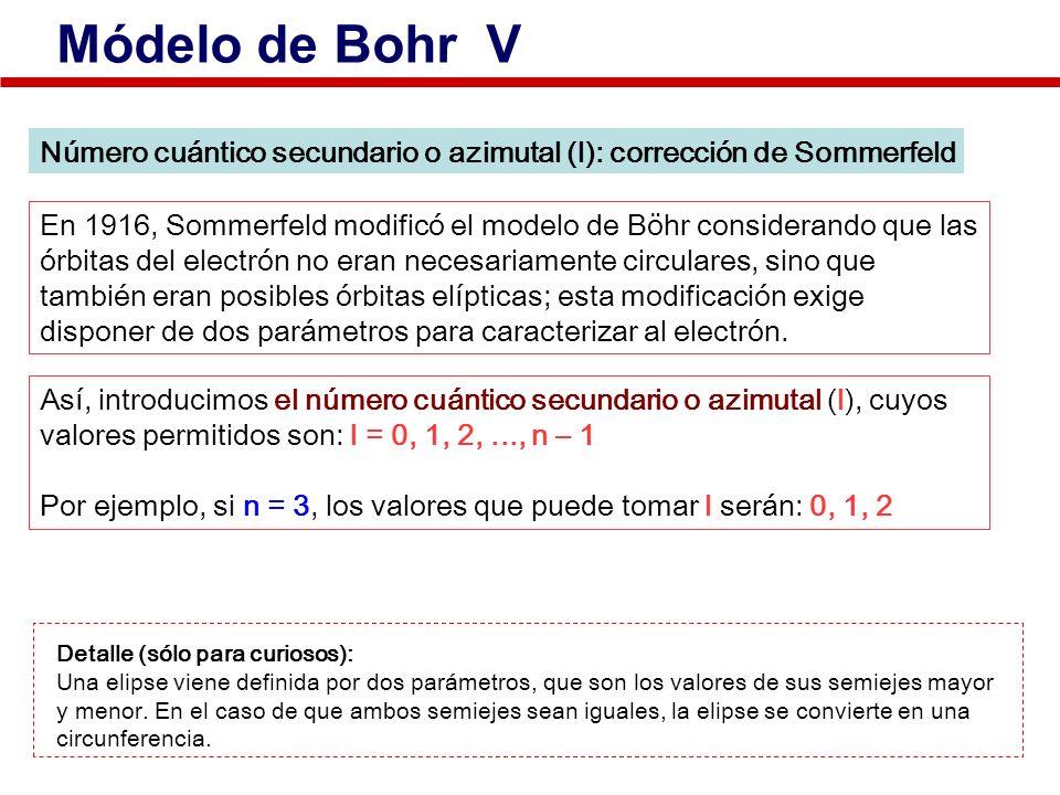 Número cuántico secundario o azimutal (l): corrección de Sommerfeld En 1916, Sommerfeld modificó el modelo de Böhr considerando que las órbitas del el
