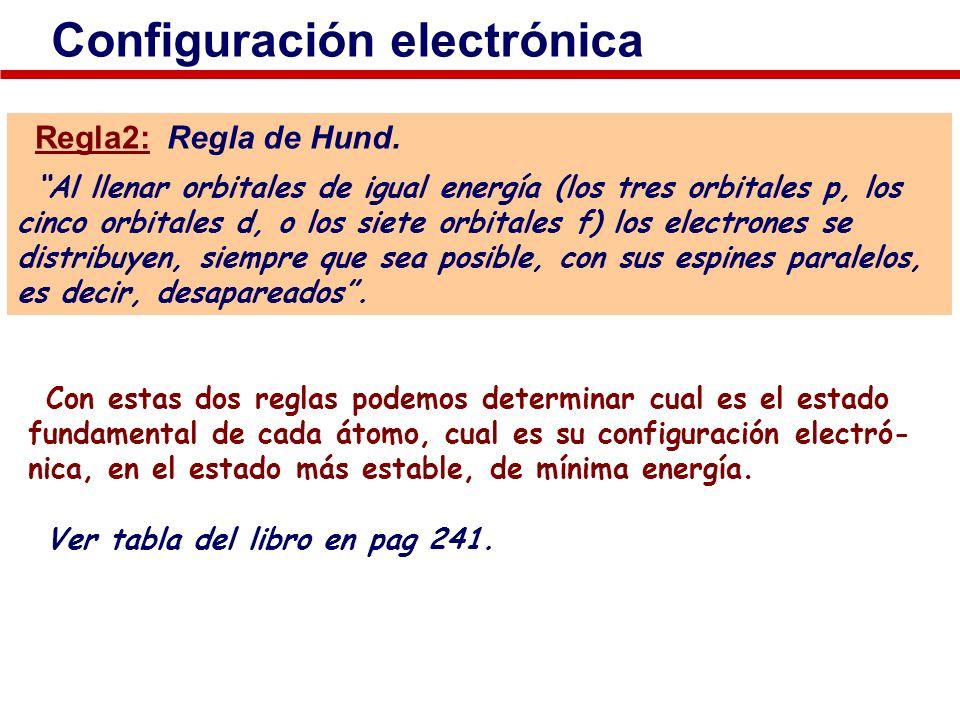 Configuración electrónica Regla2: Regla de Hund. Al llenar orbitales de igual energía (los tres orbitales p, los cinco orbitales d, o los siete orbita