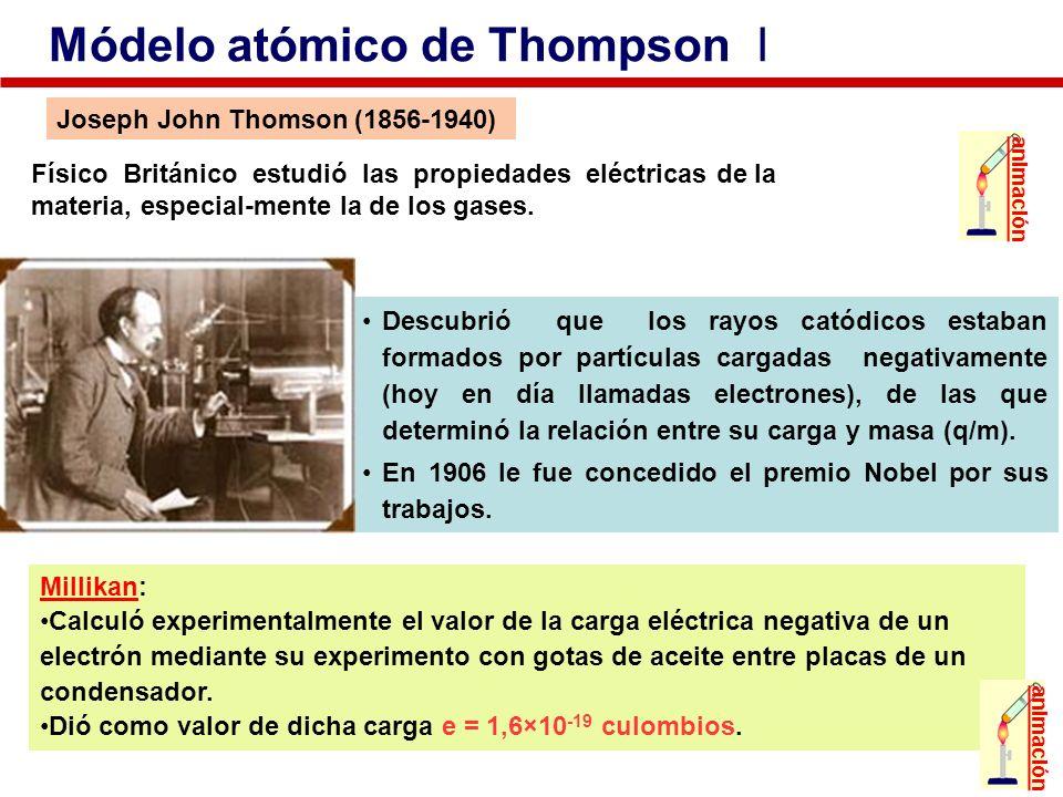 Físico Británico estudió las propiedades eléctricas de la materia, especial-mente la de los gases. Joseph John Thomson (1856-1940) Descubrió que los r