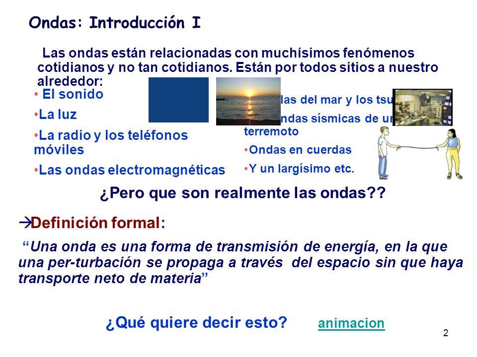 3 Ondas: Introducción I Las ondas están relacionadas con muchísimos fenómenos cotidianos y no tan cotidianos.