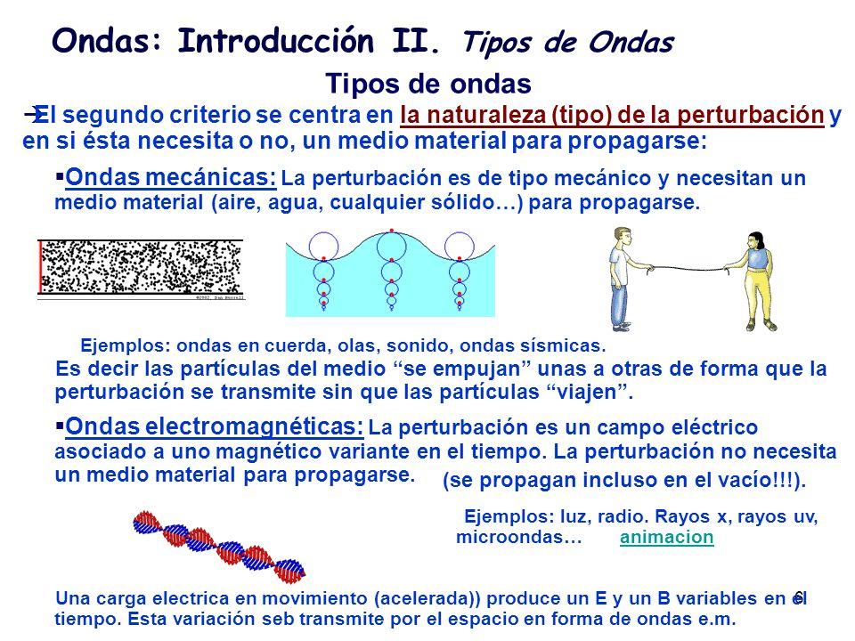 7 Ondas: Introducción II. Tipos de Ondas Tipos de ondas Ondas mecánicas: