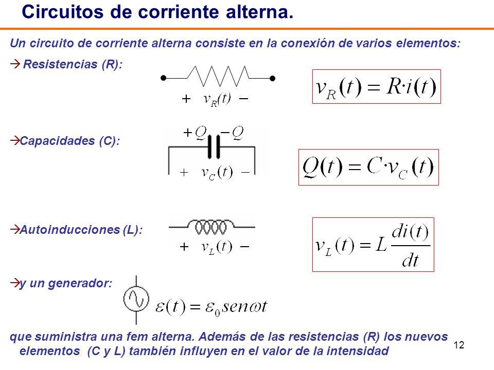 12 Un circuito de corriente alterna consiste en la conexión de varios elementos: Resistencias (R): Capacidades (C): Autoinducciones (L): y un generado