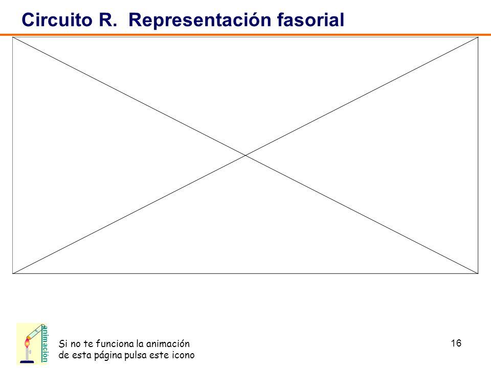 16 Circuito R. Representación fasorial animación Si no te funciona la animación de esta página pulsa este icono