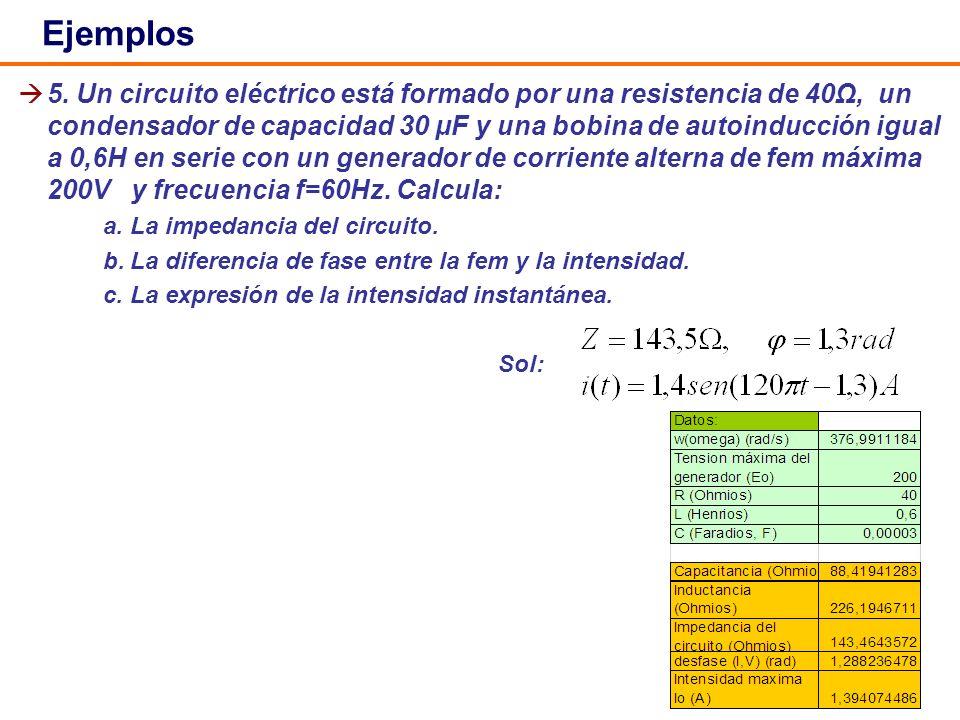 35 5. Un circuito eléctrico está formado por una resistencia de 40Ω, un condensador de capacidad 30 μF y una bobina de autoinducción igual a 0,6H en s