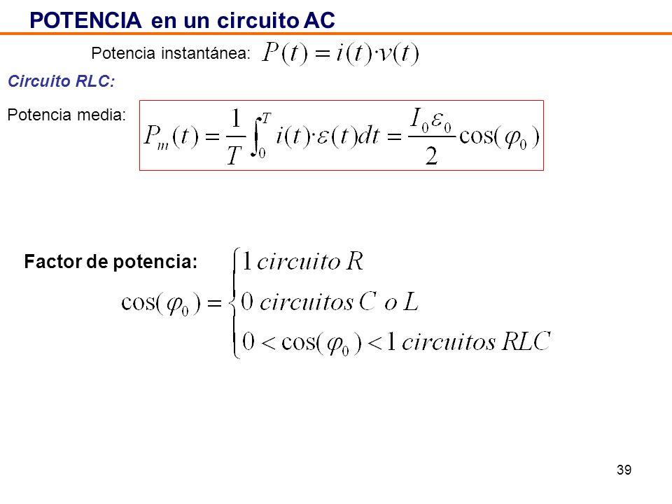 39 POTENCIA en un circuito AC Circuito RLC: Potencia instantánea: Potencia media: Factor de potencia: