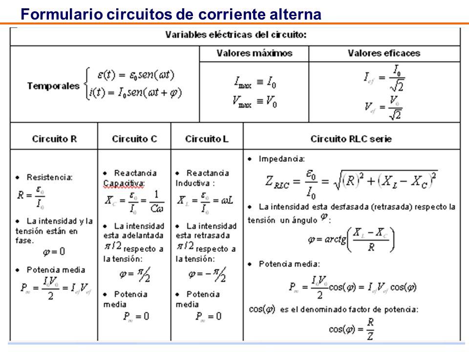 43 Formulario circuitos de corriente alterna