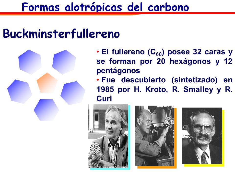 El fullereno (C 60 ) posee 32 caras y se forman por 20 hexágonos y 12 pentágonos Fue descubierto (sintetizado) en 1985 por H. Kroto, R. Smalley y R. C