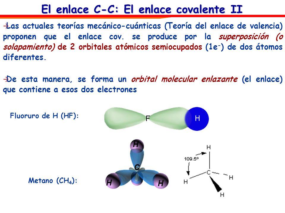 El enlace C-C: El enlace covalente II Metano (CH 4 ): Fluoruro de H (HF): C H H H Las actuales teorías mecánico-cuánticas (Teoría del enlace de valenc