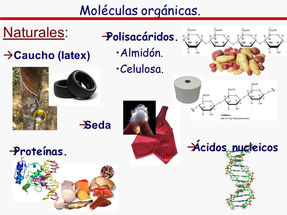 Moléculas orgánicas. Naturales: Caucho (latex) Polisacáridos. Almidón. Celulosa. Seda Proteínas. Ácidos nucleicos