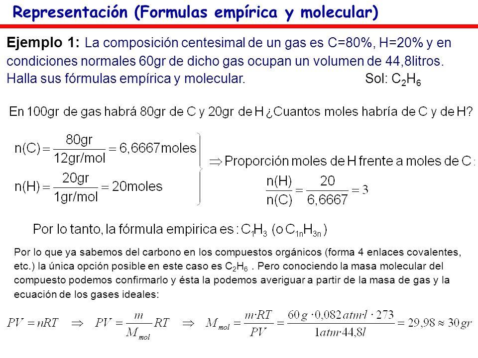 Ejemplo 1: La composición centesimal de un gas es C=80%, H=20% y en condiciones normales 60gr de dicho gas ocupan un volumen de 44,8litros. Halla sus