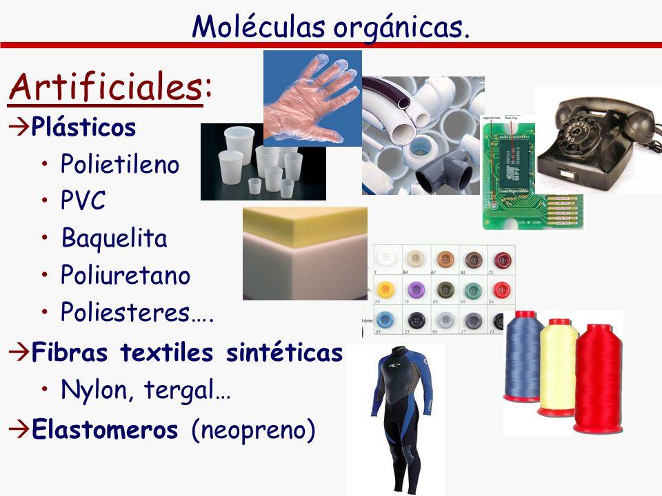 Artificiales: Plásticos Polietileno PVC Baquelita Poliuretano Poliesteres…. Fibras textiles sintéticas Nylon, tergal… Elastomeros (neopreno) Moléculas