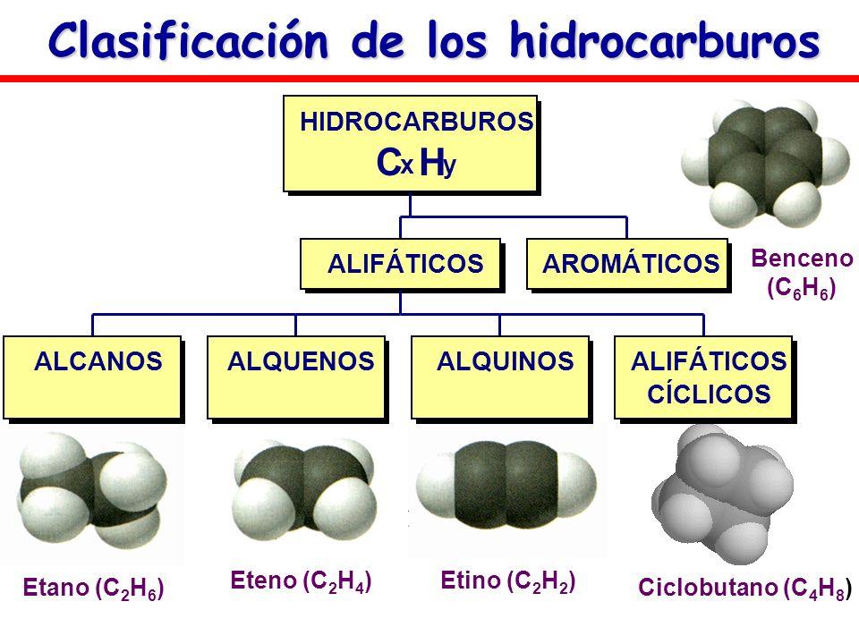 Clasificación de los hidrocarburos Ciclobutano (C 4 H 8 )Benceno (C 6 H 6 ) Etano (C 2 H 6 ) Eteno (C 2 H 4 )Etino (C 2 H 2 ) ALCANOSALQUENOSALQUINOSA