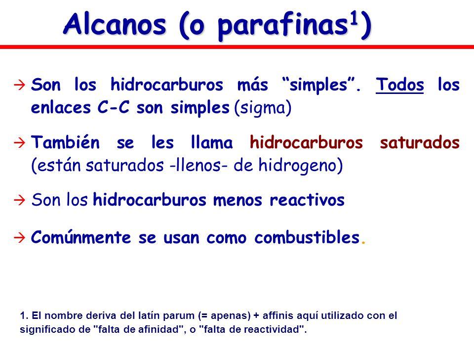 Alcanos (o parafinas 1 ) Son los hidrocarburos más simples. Todos los enlaces C-C son simples (sigma) También se les llama hidrocarburos saturados (es