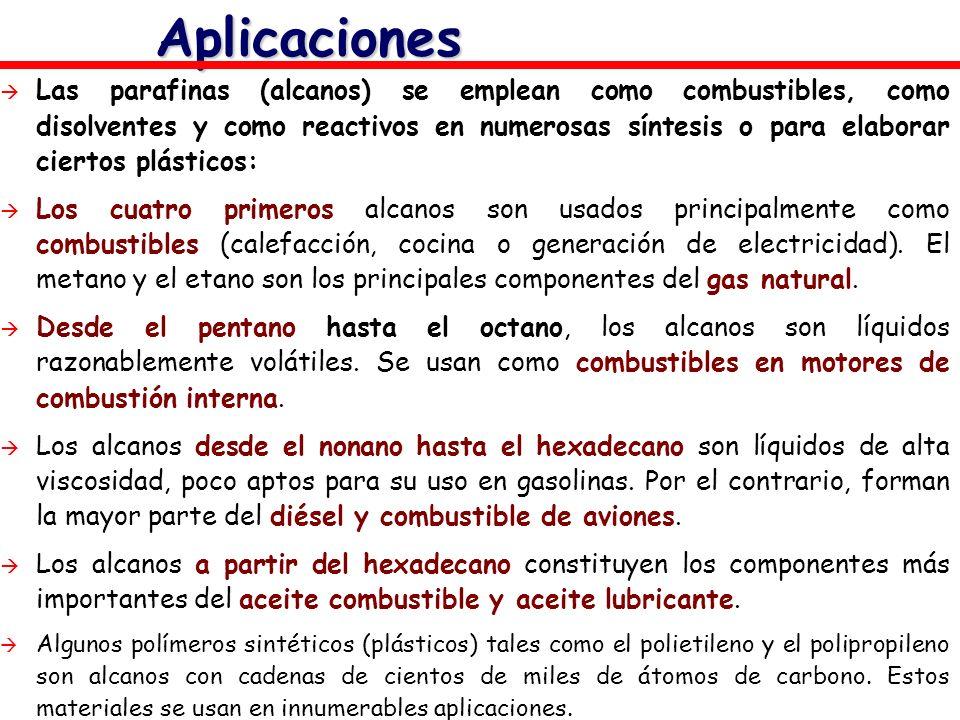 Aplicaciones Las parafinas (alcanos) se emplean como combustibles, como disolventes y como reactivos en numerosas síntesis o para elaborar ciertos plá