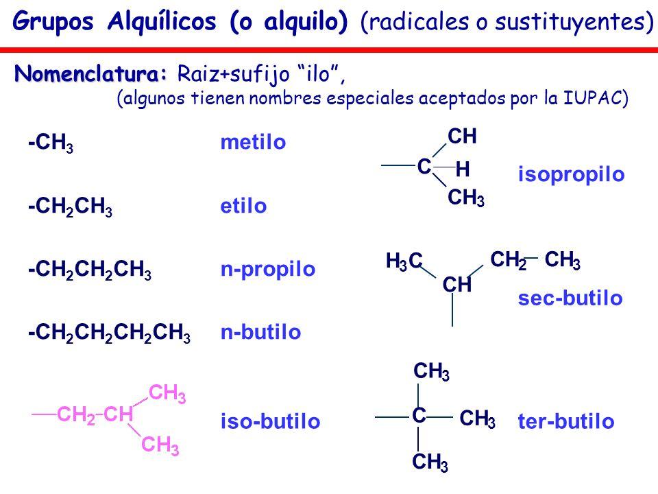 Grupos Alquílicos (o alquilo) (radicales o sustituyentes) -CH 3 metilo -CH 2 CH 3 etilo -CH 2 CH 2 CH 3 n-propilo -CH 2 CH 2 CH 2 CH 3 n-butilo isopro