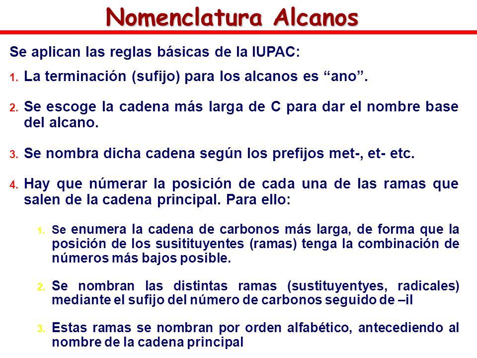 Nomenclatura Alcanos Se aplican las reglas básicas de la IUPAC: 1. La terminación (sufijo) para los alcanos es ano. 2. Se escoge la cadena más larga d