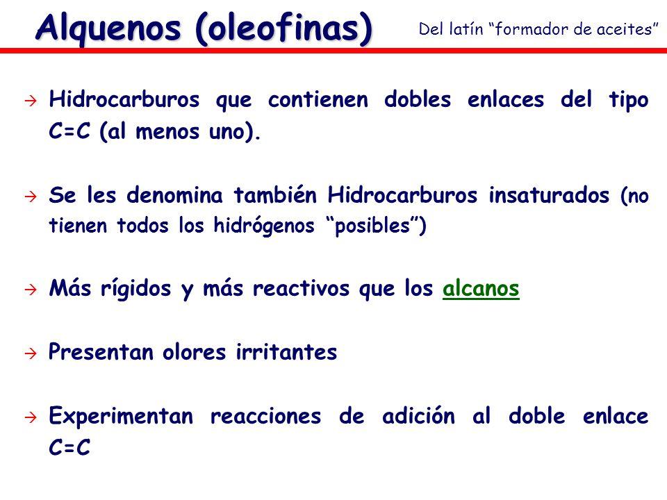 Alquenos (oleofinas) Hidrocarburos que contienen dobles enlaces del tipo C=C (al menos uno). Se les denomina también Hidrocarburos insaturados (no tie