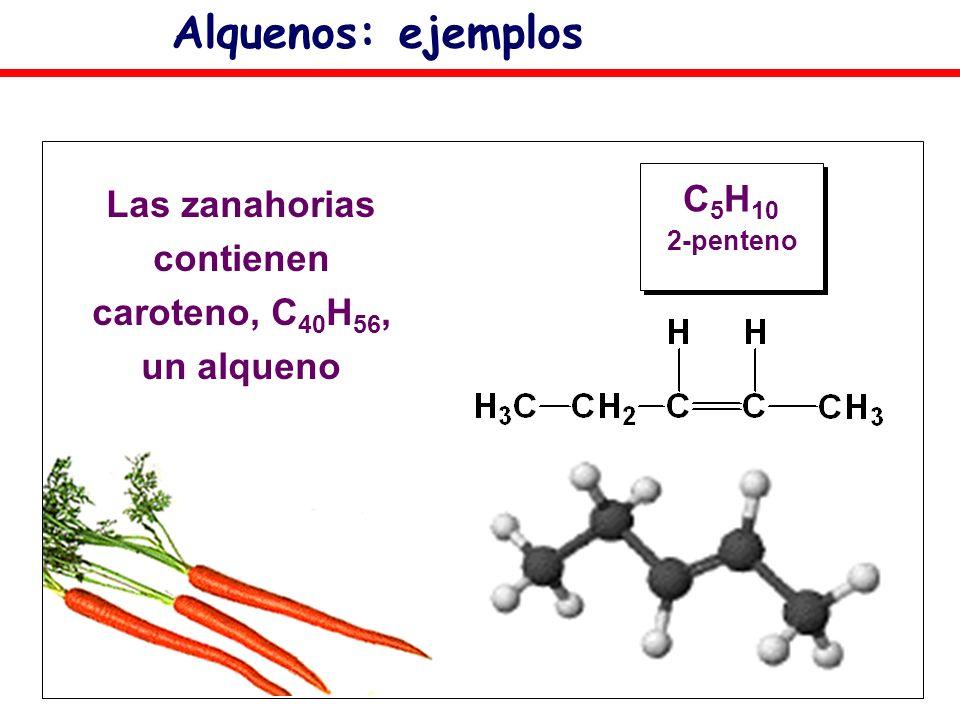 Alquenos: ejemplos C 5 H 10 2-penteno Las zanahorias contienen caroteno, C 40 H 56, un alqueno
