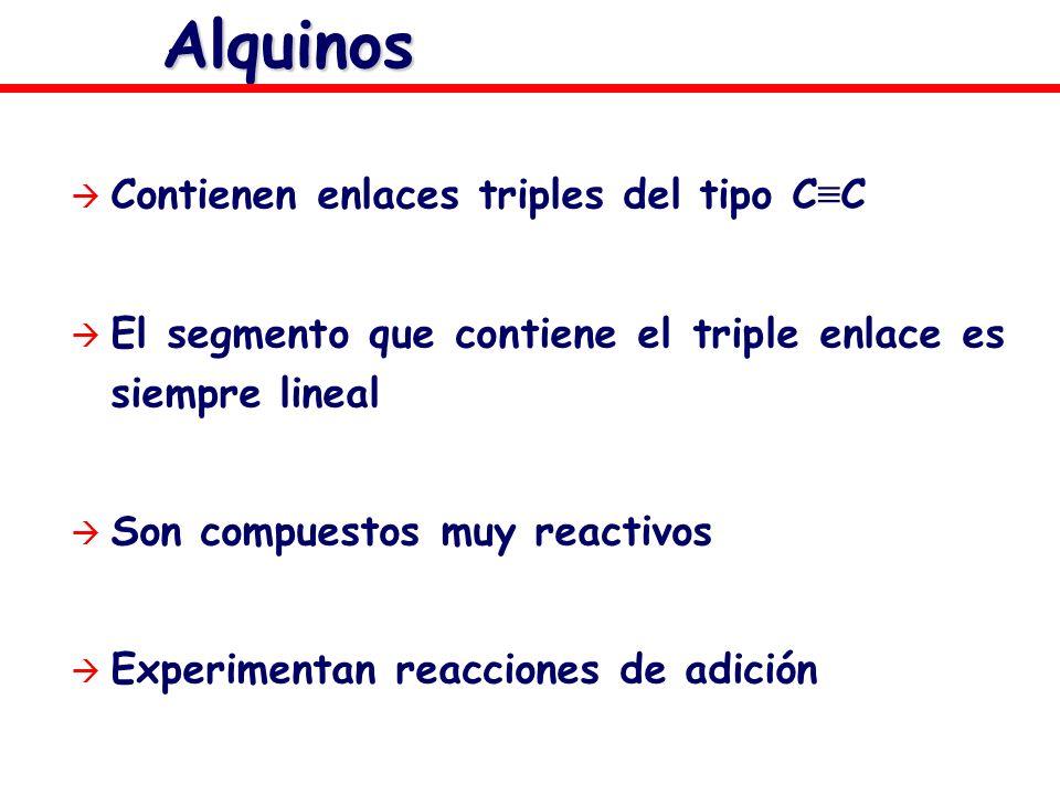 Alquinos Contienen enlaces triples del tipo C C El segmento que contiene el triple enlace es siempre lineal Son compuestos muy reactivos Experimentan