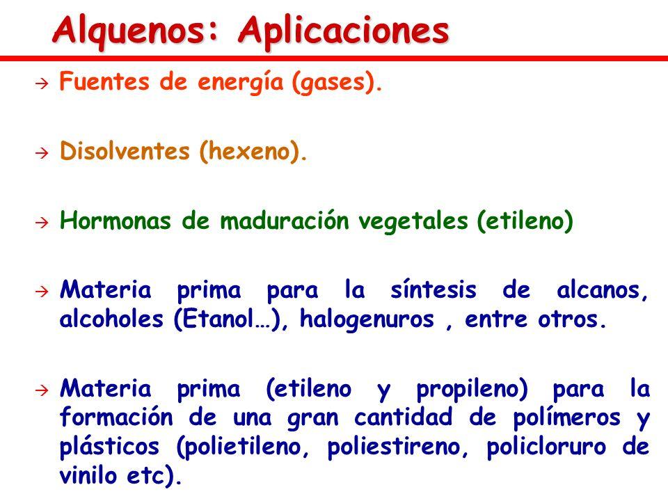 Alquenos: Aplicaciones Fuentes de energía (gases). Disolventes (hexeno). Hormonas de maduración vegetales (etileno) Materia prima para la síntesis de
