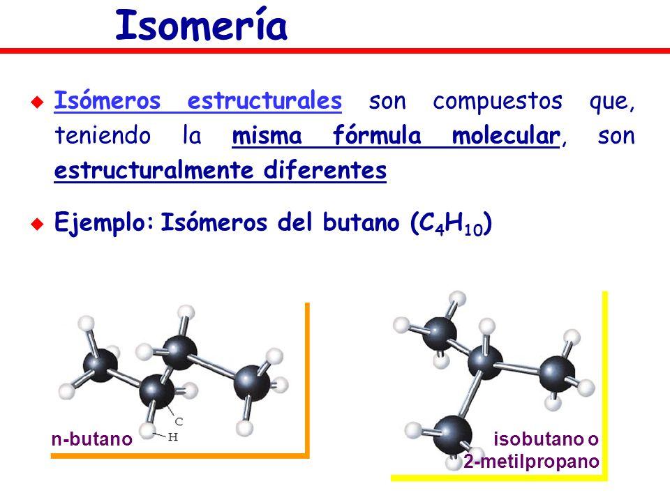 Isomería Isómeros estructurales son compuestos que, teniendo la misma fórmula molecular, son estructuralmente diferentes Ejemplo: Isómeros del butano